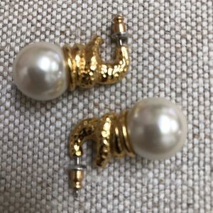 Earrings with large faux pearls